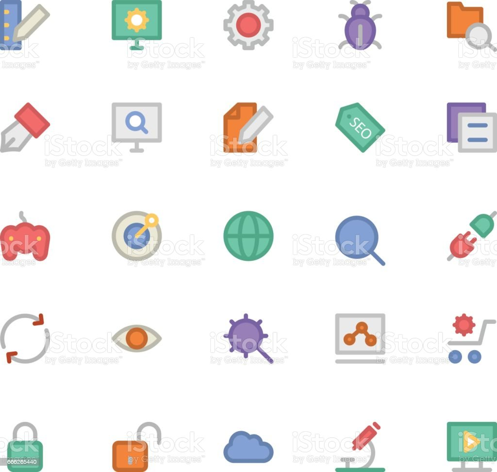 SEO and Marketing Colored Vector Icons 1 vector art illustration