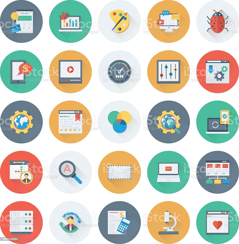 SEO and Marketing Colored Vector Icons 7 vector art illustration