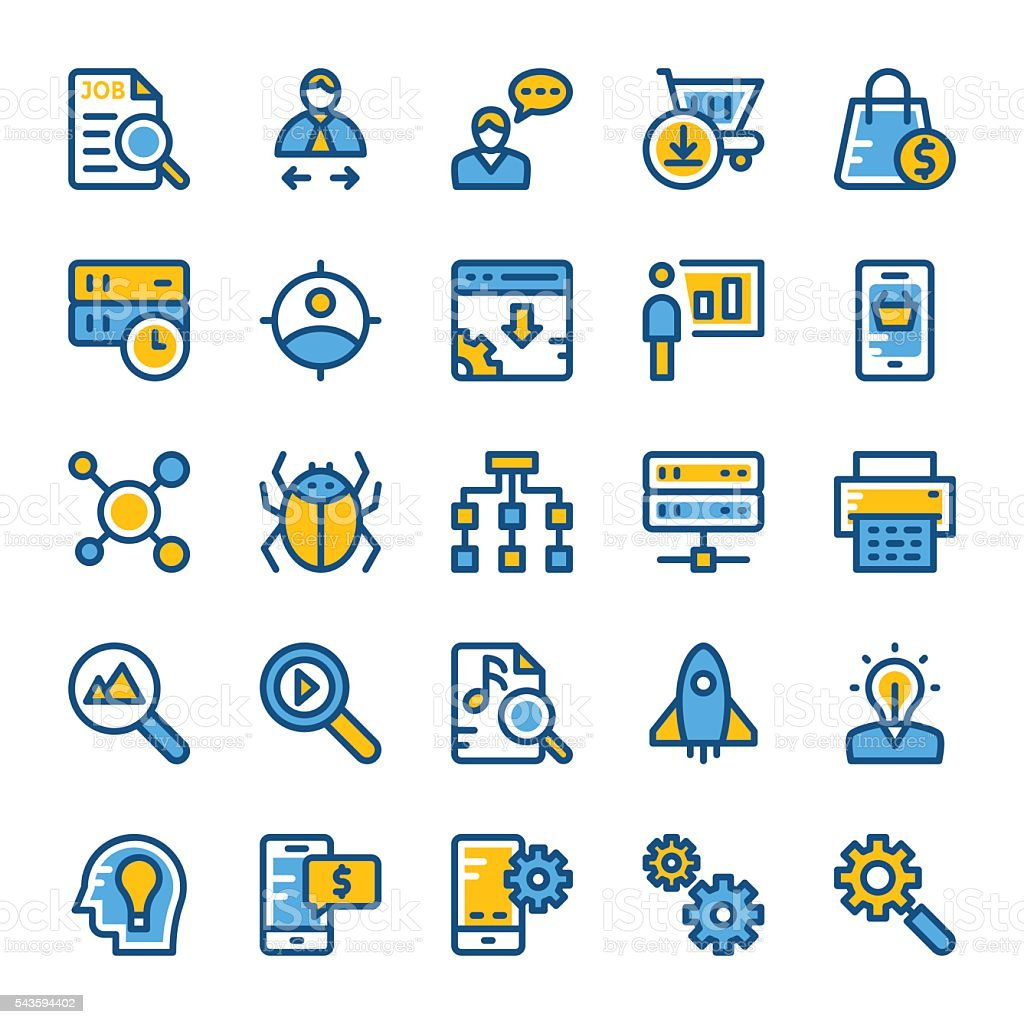 SEO and Marketing Vector Icons 3 vector art illustration