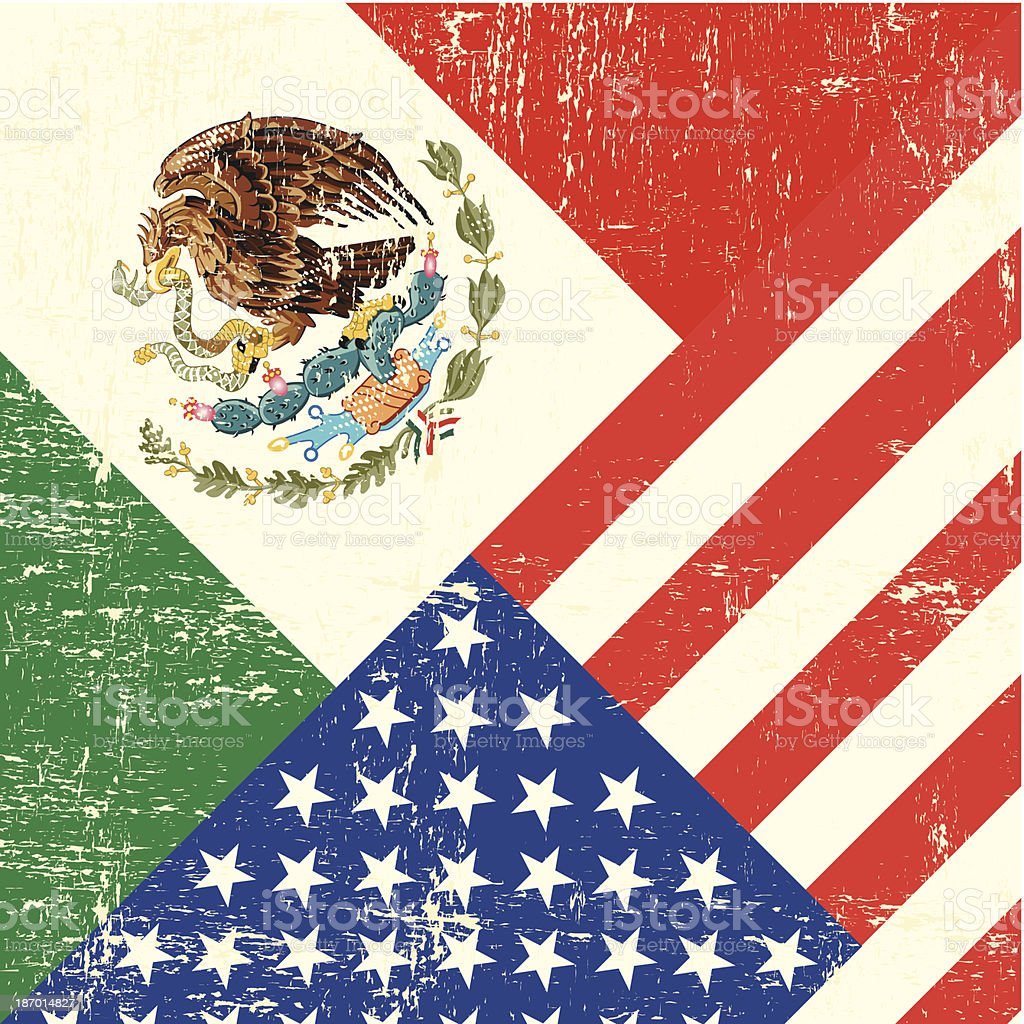 USA and Mexican grunge Flag vector art illustration