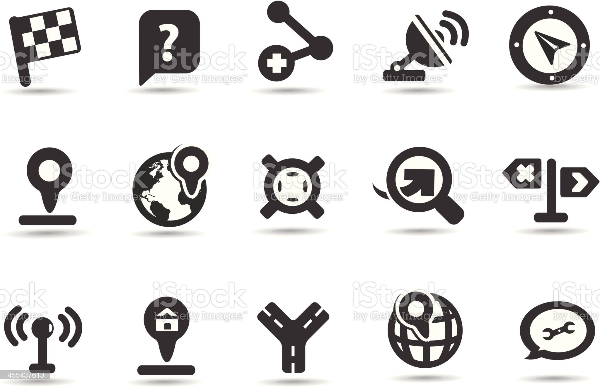 GPS and Navigation Icon Set royalty-free stock vector art