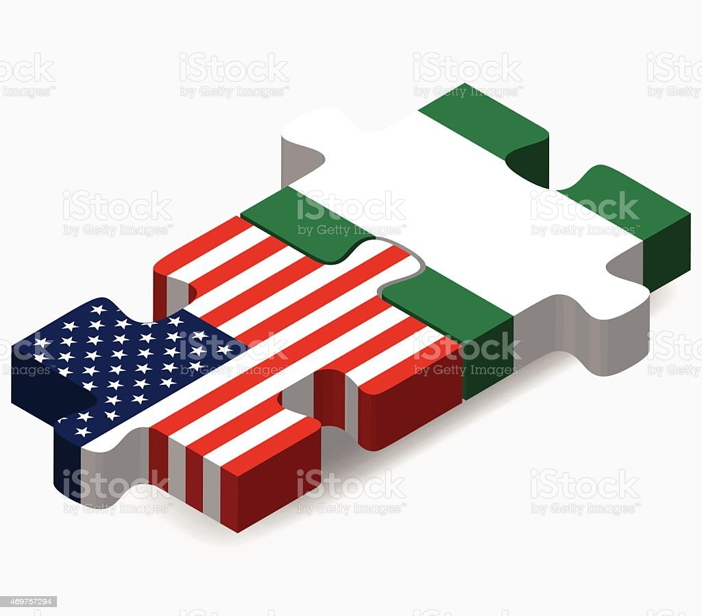 USA and Nigeria Flags in puzzle vector art illustration