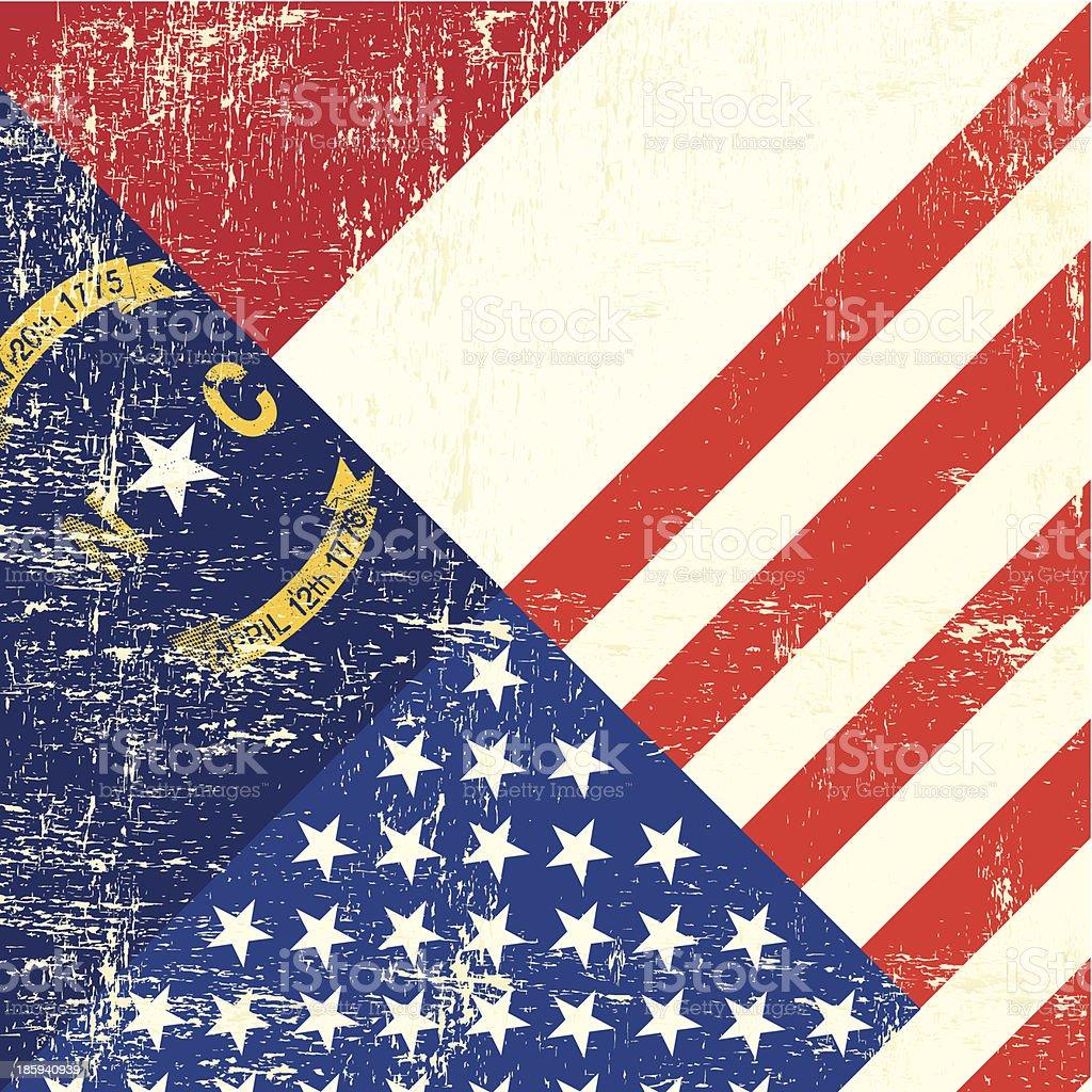 USA and North Carolina grunge Flag royalty-free stock vector art
