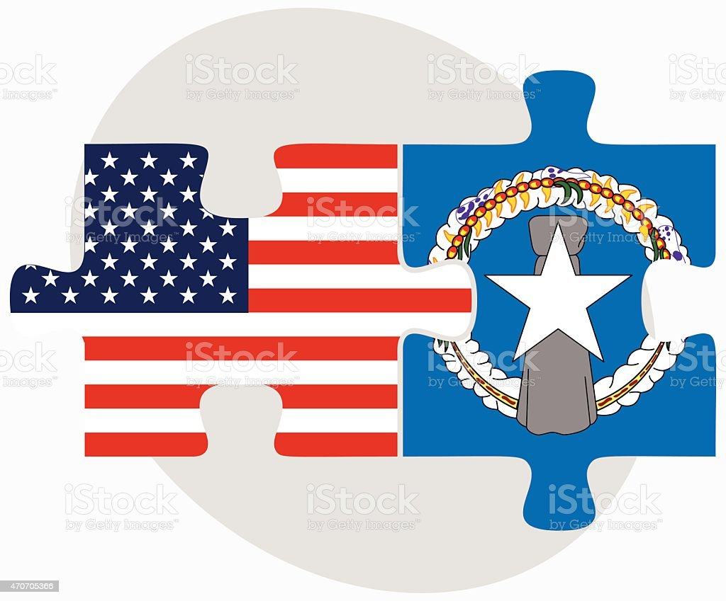 USA and Northern Mariana Islands Flags in puzzle vector art illustration