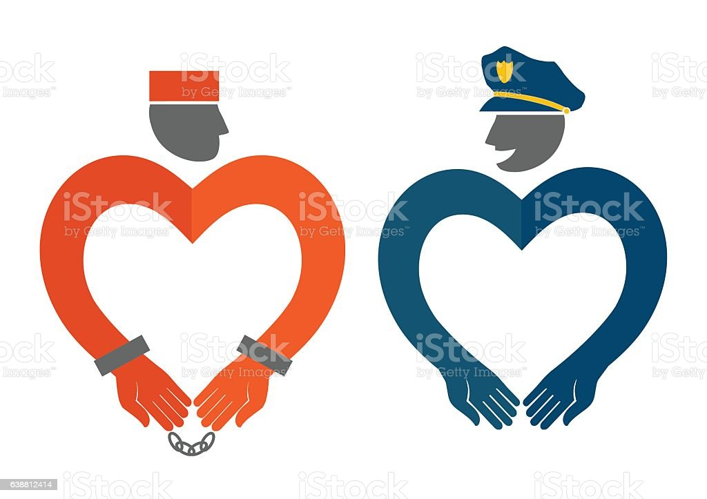 COP and prisoner icons in the form of hearts vector art illustration