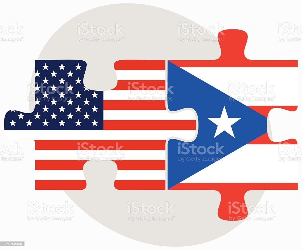 USA and Puerto Rico flags fitting as puzzle pieces vector art illustration