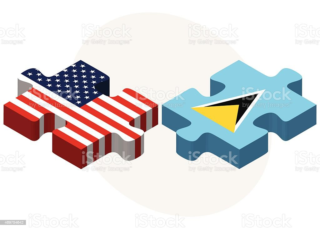 USA and Saint Lucia Flags in puzzle vector art illustration