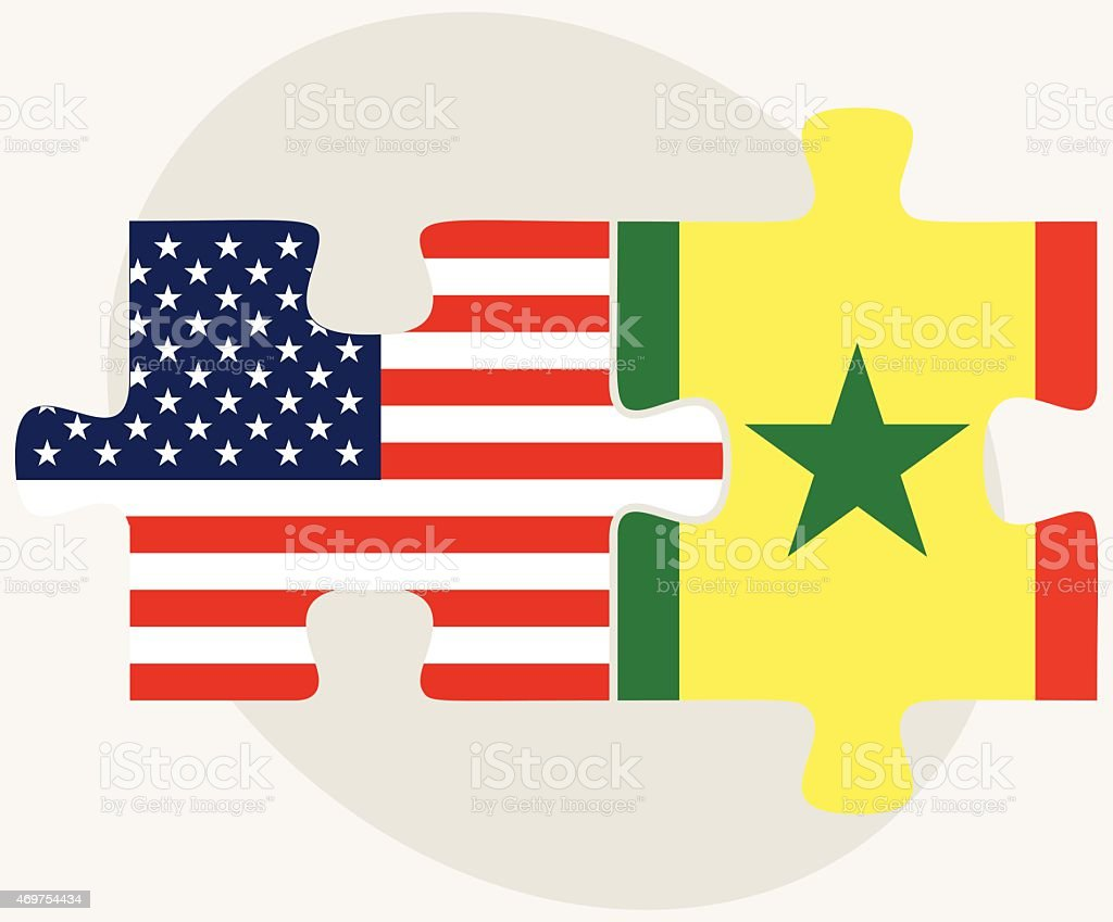USA and Senegal Flags in puzzle vector art illustration