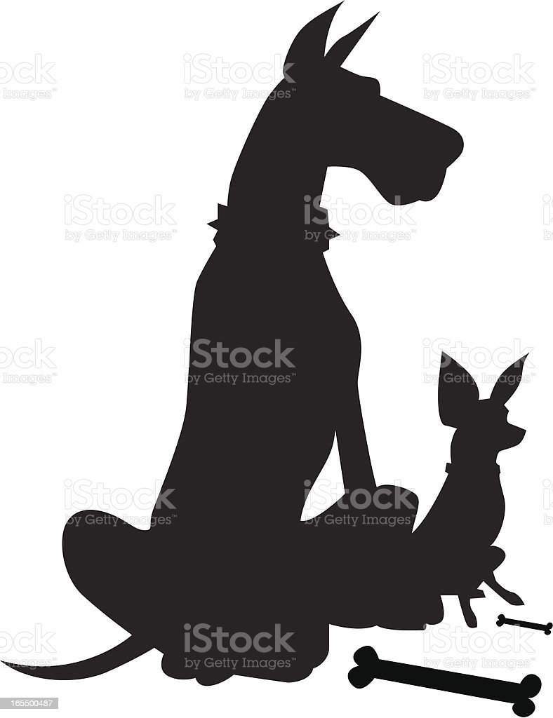BIG and Small Dogs royalty-free stock vector art