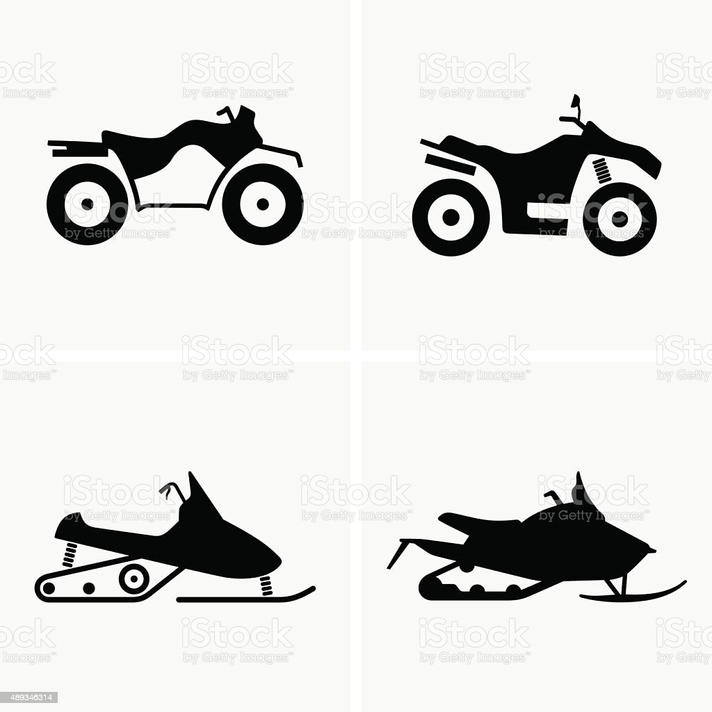 ATV and Snowmobile vector art illustration