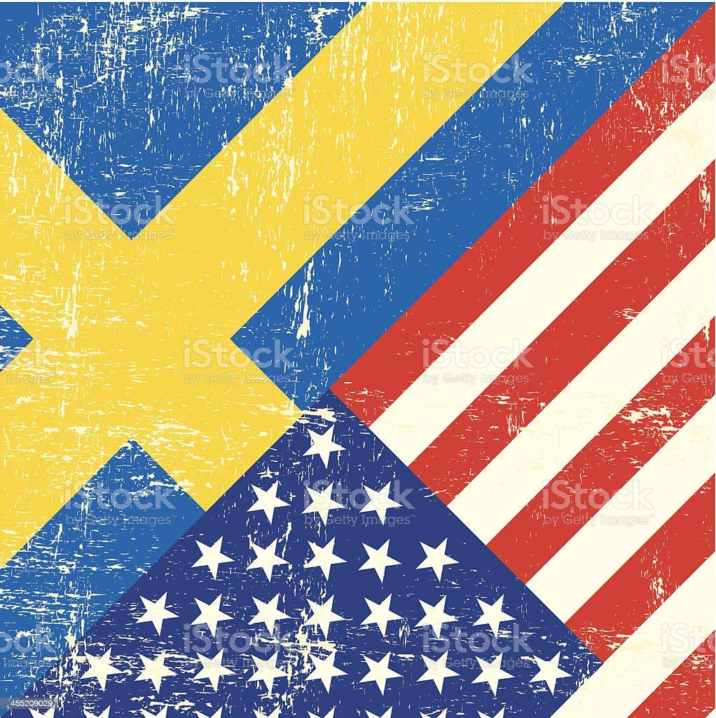 USA and swedish grunge Flag. vector art illustration