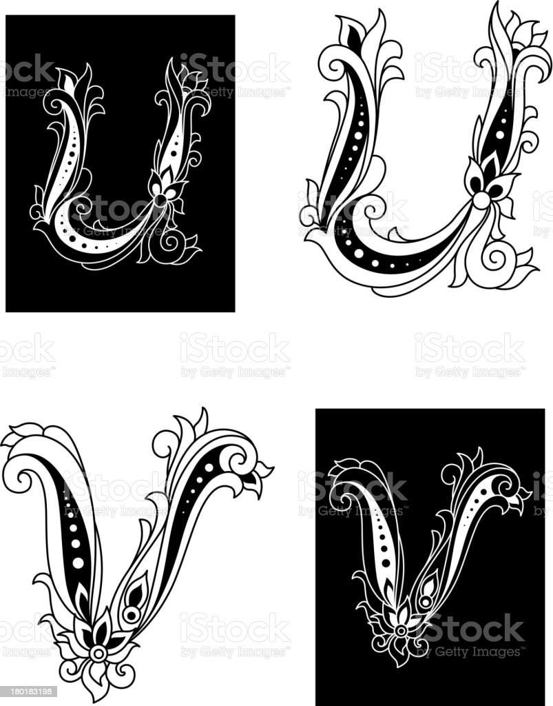 U and V letters in retro floral style royalty-free stock vector art