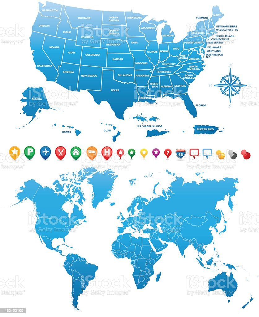 USA and WORLD MAPS with GPS icons royalty-free stock vector art