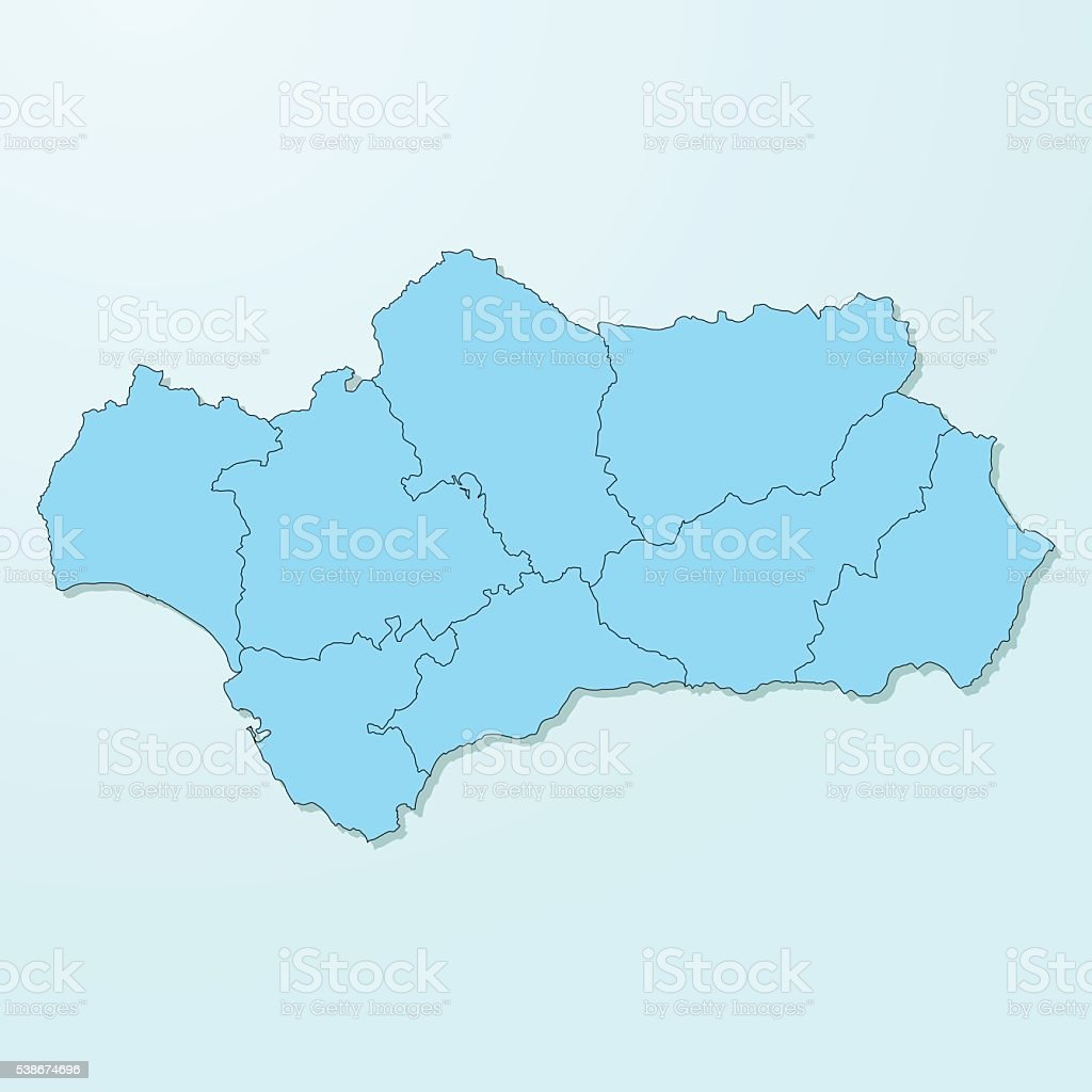 Andalusia blue map on degraded background vector vector art illustration