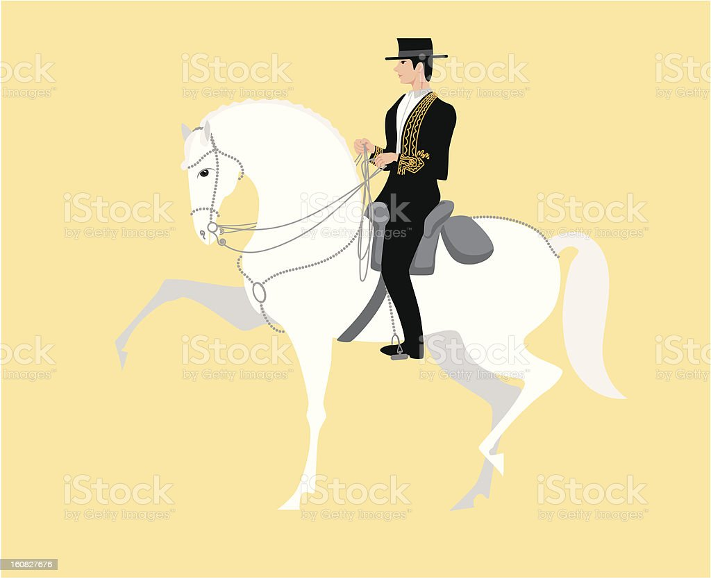 Andalusian Horse with Rider royalty-free stock vector art