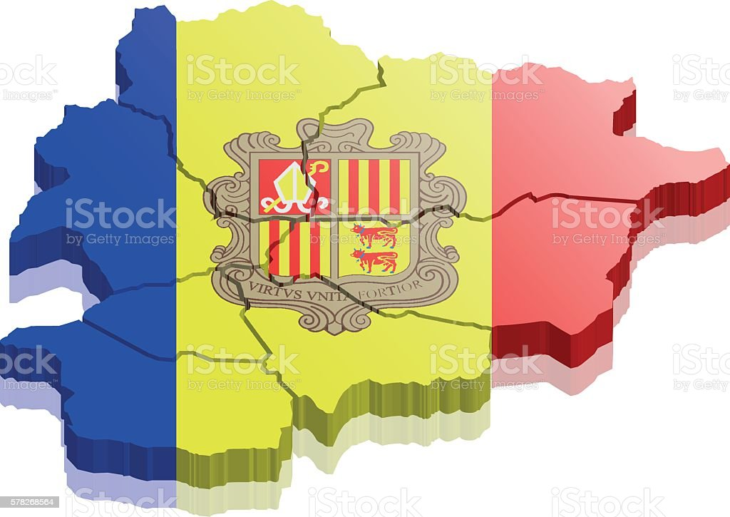 andorra map 3d vector art illustration