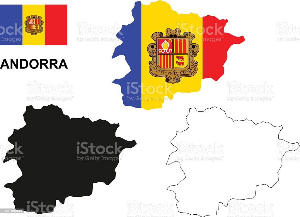 Andorra map vector, Andorra flag vector, isolated Andorra vector art illustration