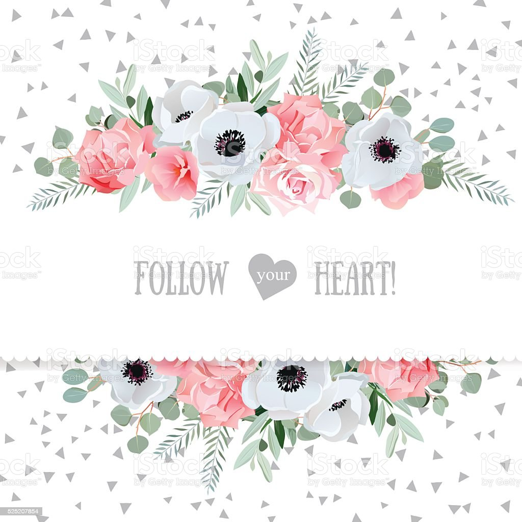Anemone, rose, pink flowers and eucaliptus vector mirrored design card vector art illustration