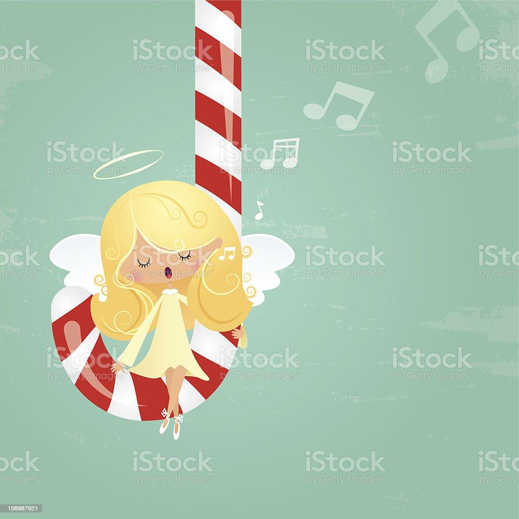 Angel & candy cane vector art illustration