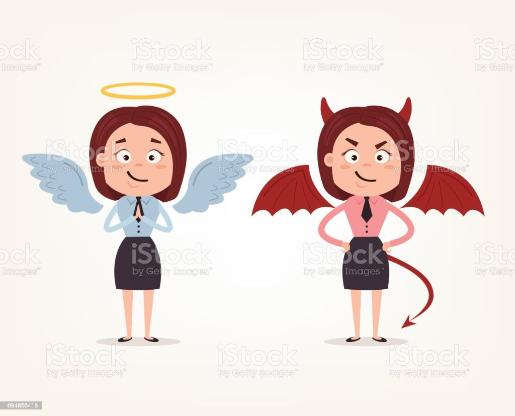 Angel and devil business woman office workers characters. Good and bad vector art illustration