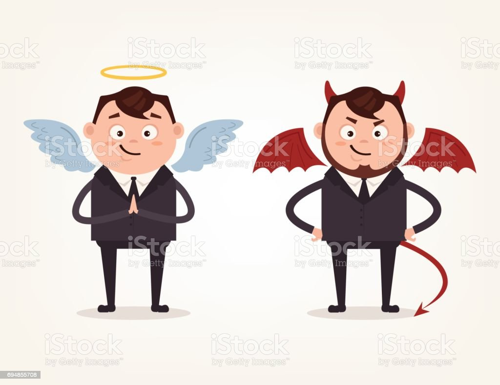 Angel and devil businessman office workers characters. Good and bad vector art illustration