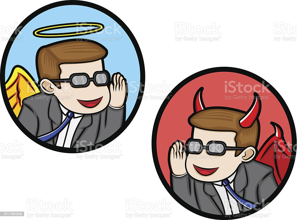 Angel and Devil In Business vector art illustration