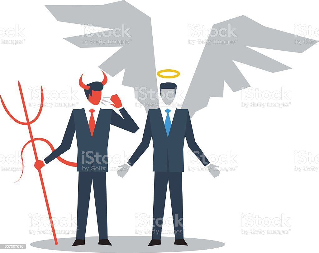 Angel and devil managers vector art illustration