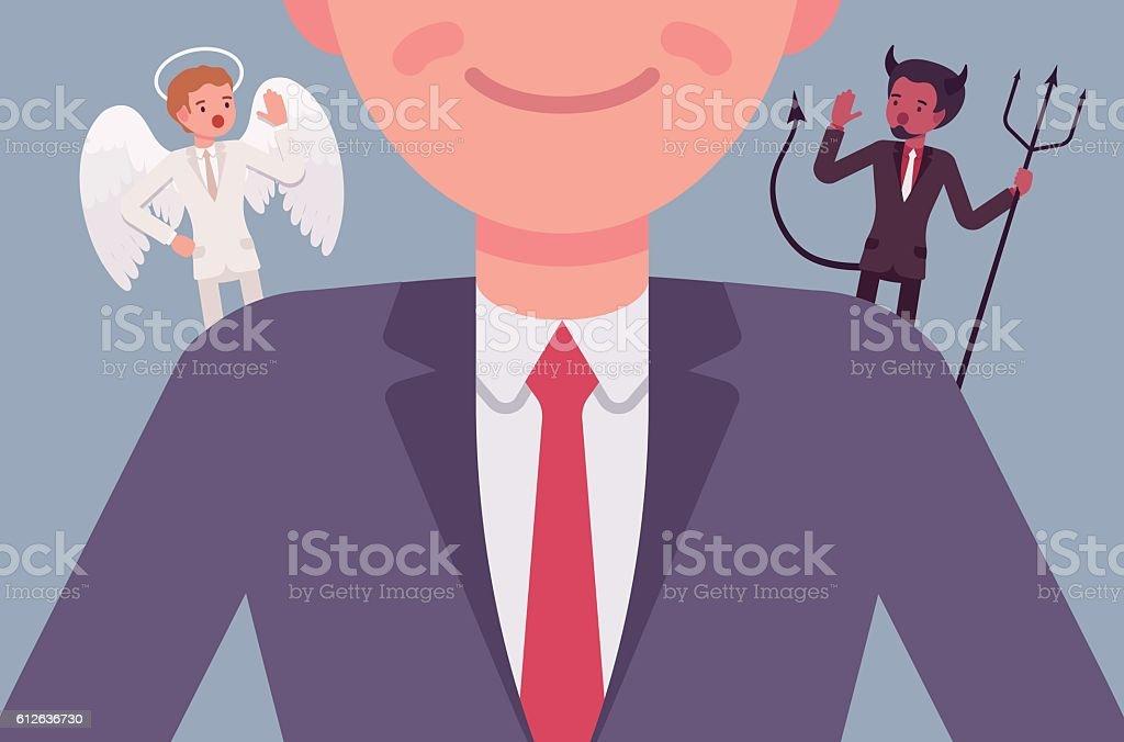 Angel and devil on the man shoulders vector art illustration