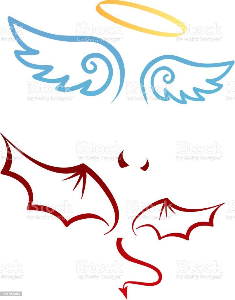 Angel and devil vector art illustration