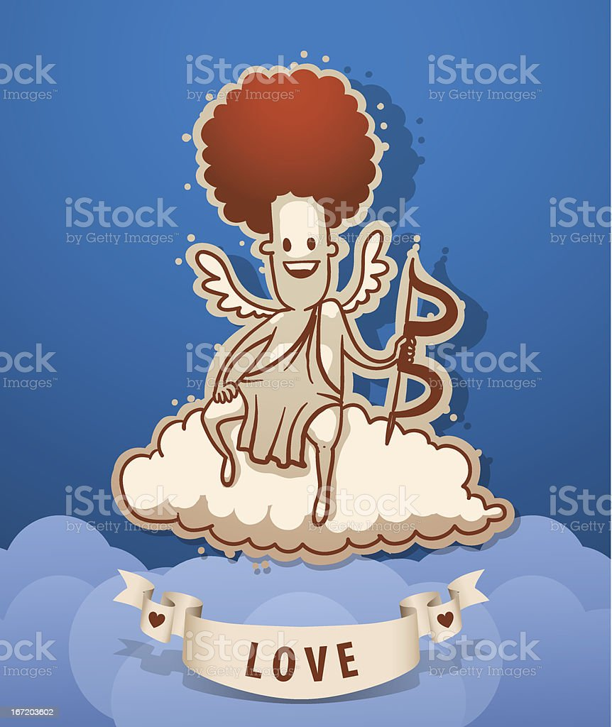 Angel cupid sat on the cloud royalty-free stock vector art