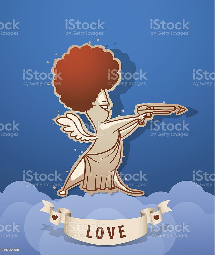 Angel cupid with a gun and arrows royalty-free stock vector art