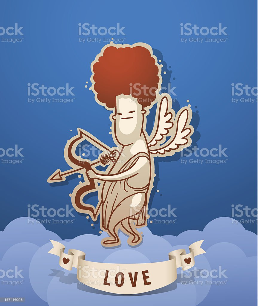 Angel cupid with eyes closed royalty-free stock vector art