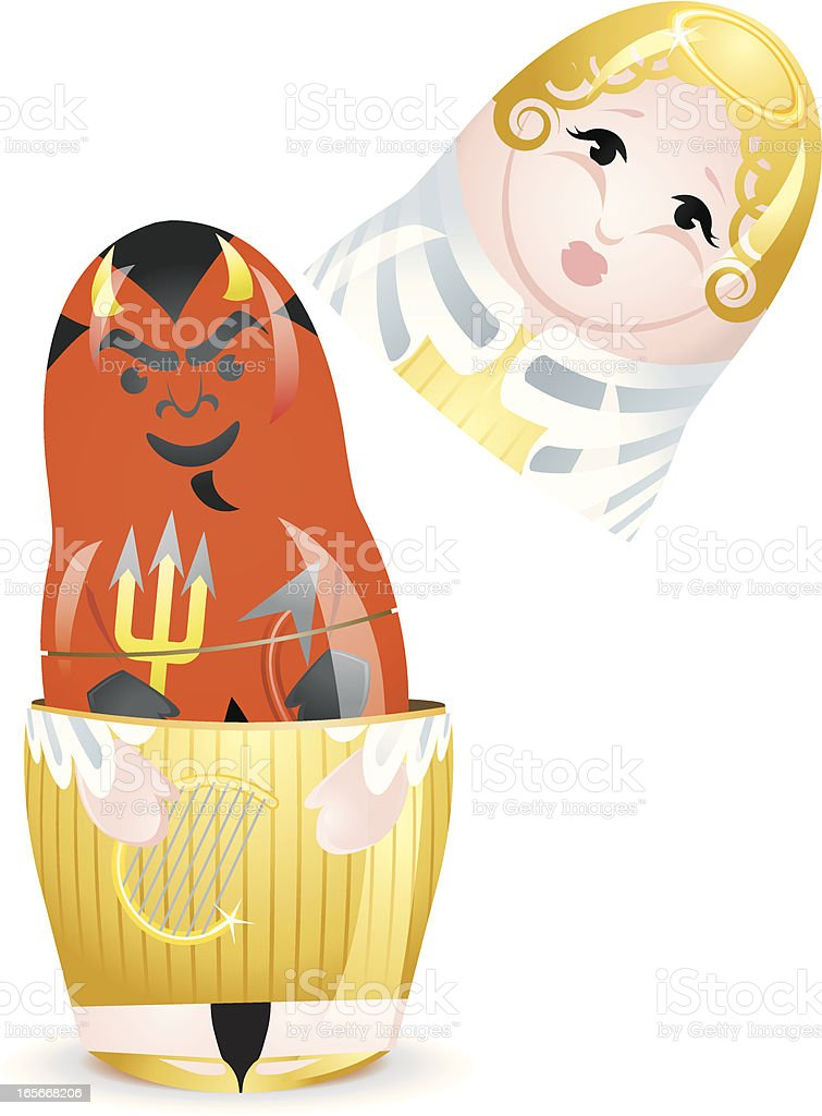 Angel Devil Good and Evil Opposites Nesting Doll Concept royalty-free stock vector art
