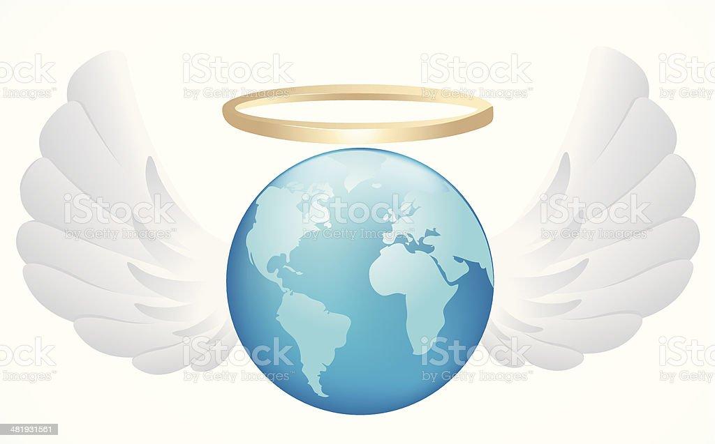 Angel Earth vector art illustration
