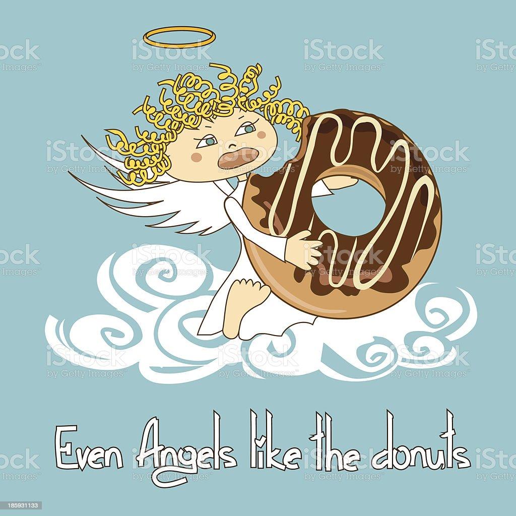 Angel eating big donut royalty-free stock vector art