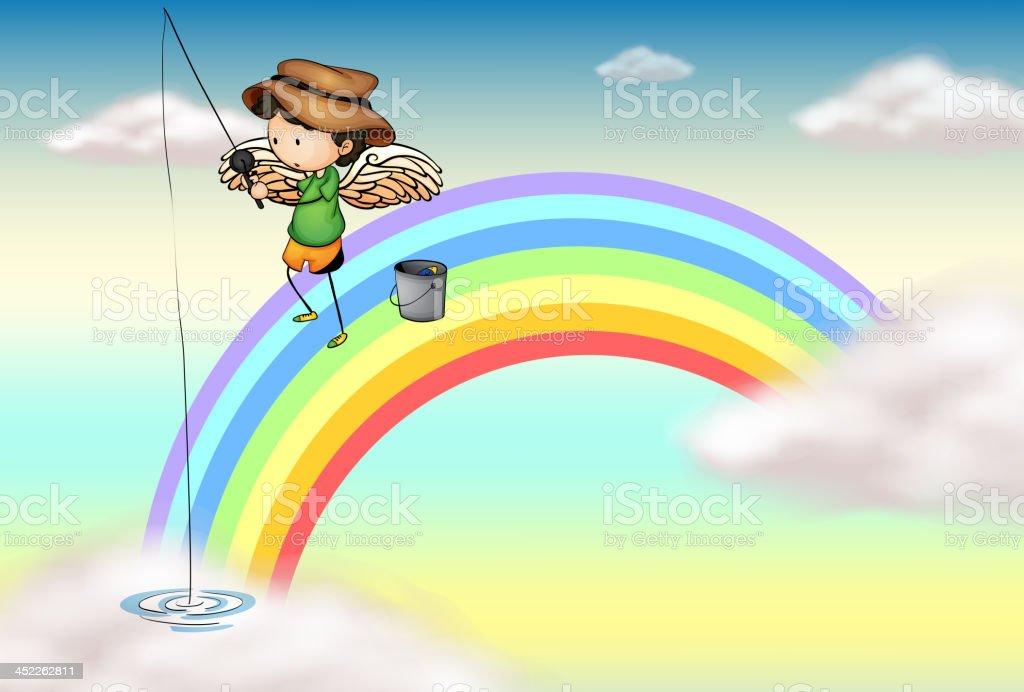 Angel fishing above the rainbow royalty-free stock vector art