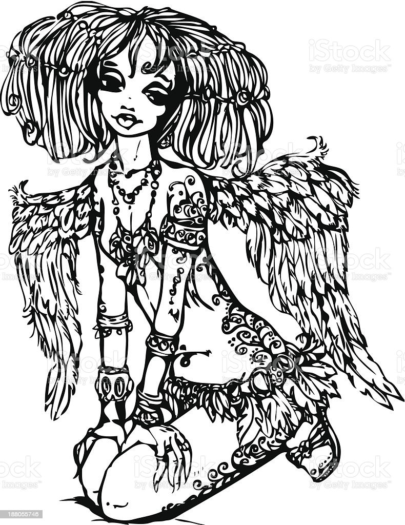 Angel girl with tattoo on her body royalty-free stock vector art