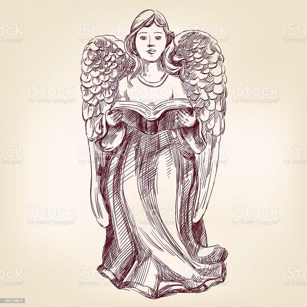 angel hand drawn vector llustration realistic sketch royalty-free stock vector art