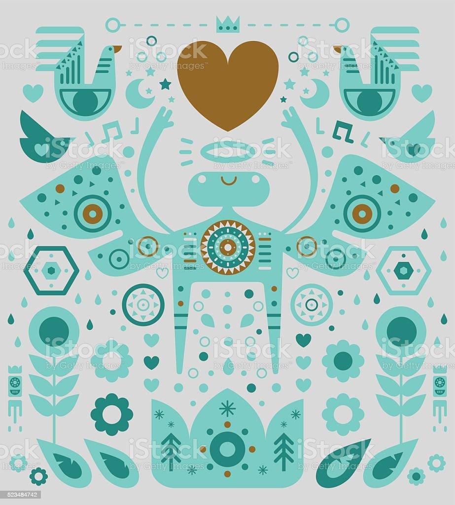 Angel & Heart vector art illustration