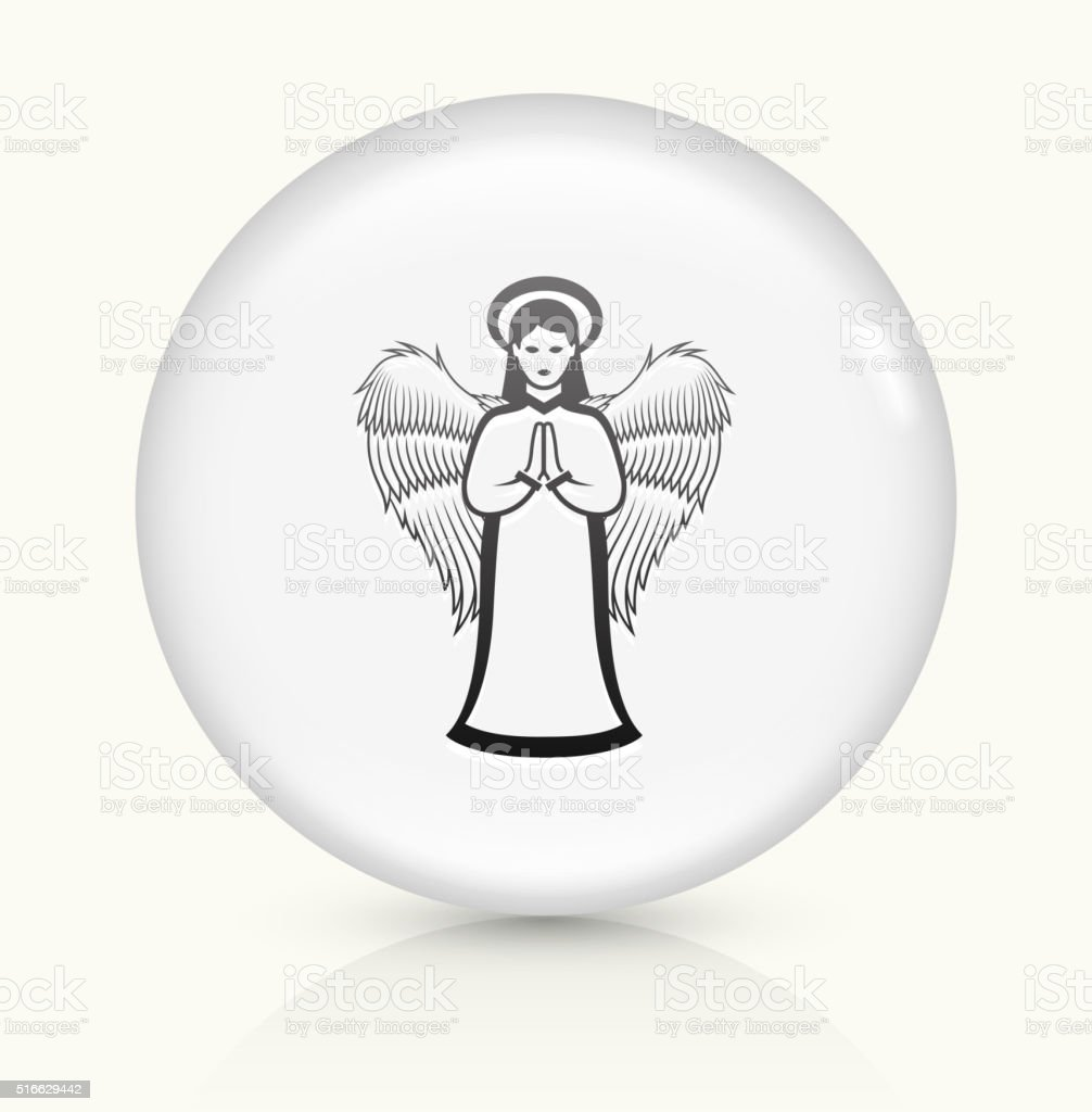 Angel icon on white round vector button vector art illustration