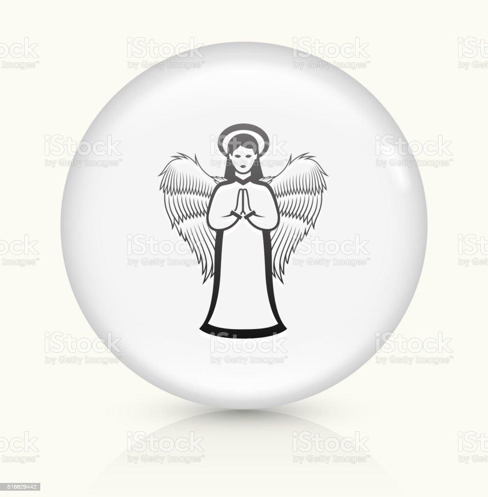 Angel icon on white round vector button vector art illustration