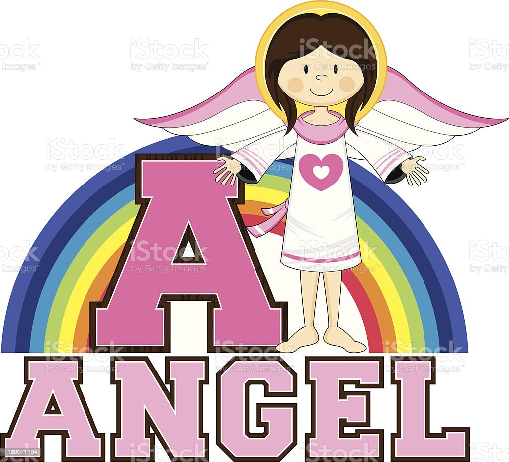 Angel Learning Letter A royalty-free stock vector art