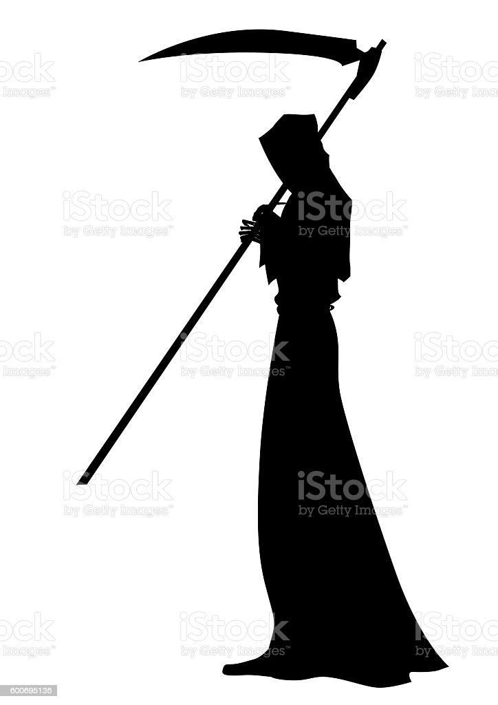 Angel of death with a scythe in his hands vector art illustration