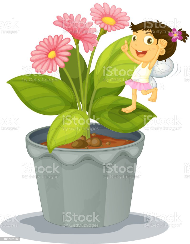 Angel on a plant royalty-free stock vector art