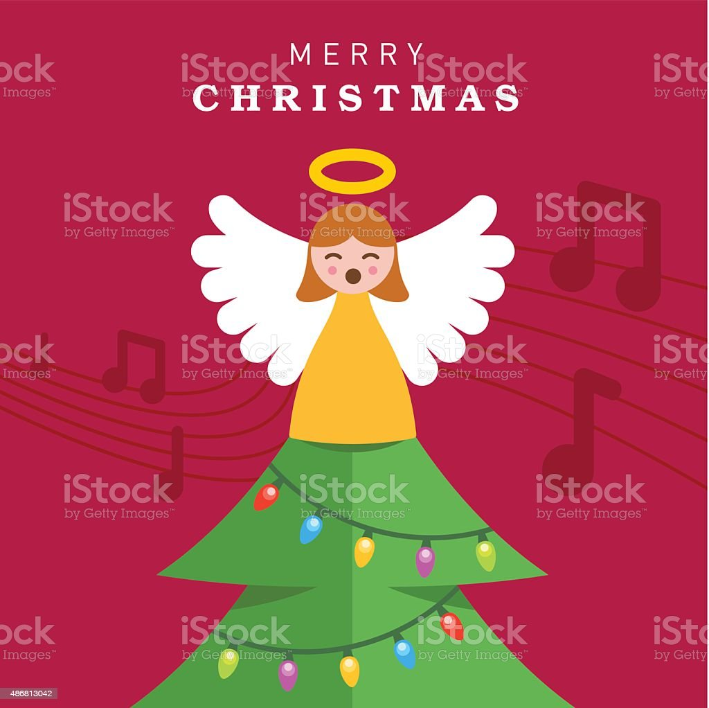 Angel on the Christmas Tree vector art illustration
