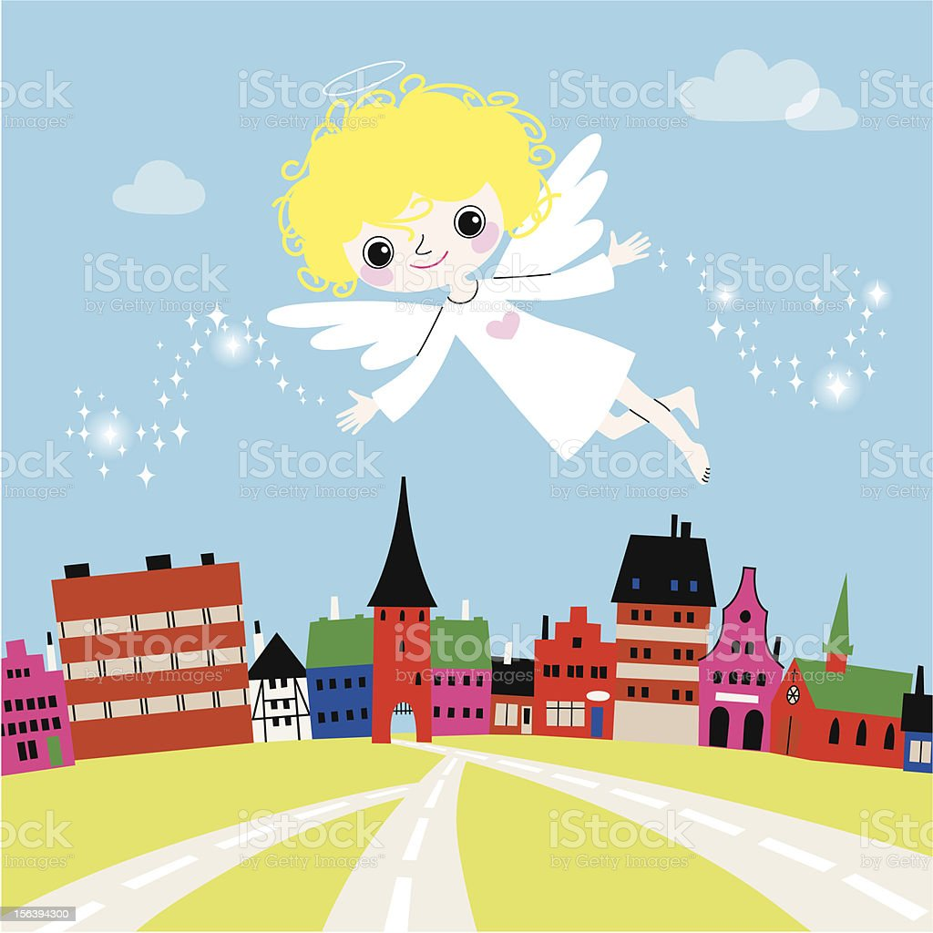 Angel over a Town. vector art illustration