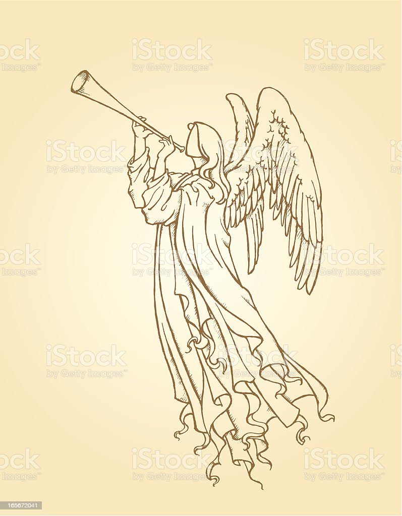 Angel Playing Trumpet vector art illustration