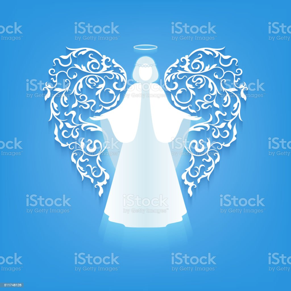 angel silhouette with ornaments wings vector art illustration