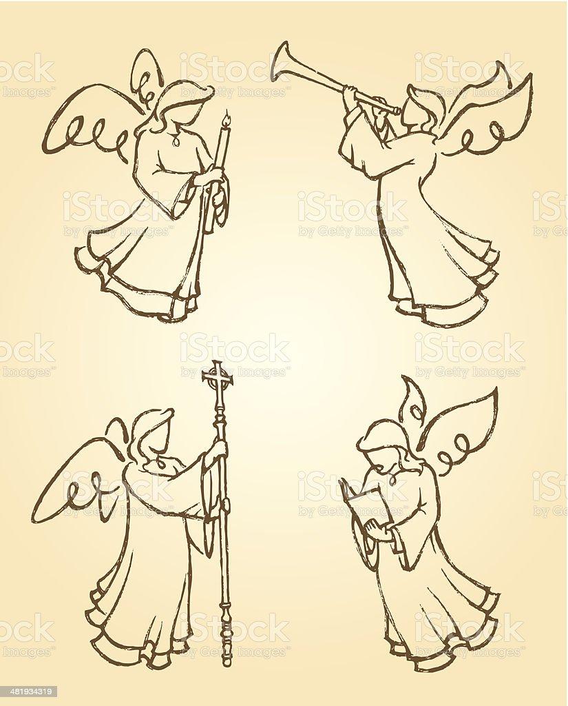 Angel Sketch Set 3 royalty-free stock vector art