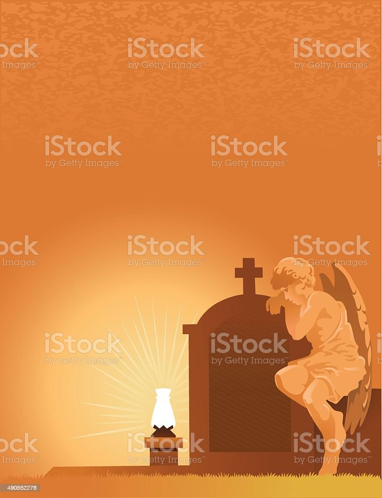 Angel Statue Weeping at Tombstone - Copy Space vector art illustration